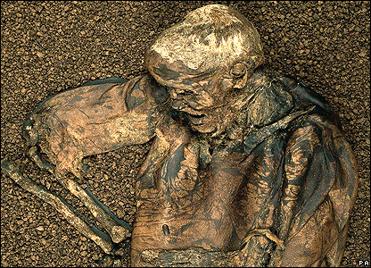 "Photo of ""Lindow Man"" a naturally-preserved bog body of an Iron Age man,"