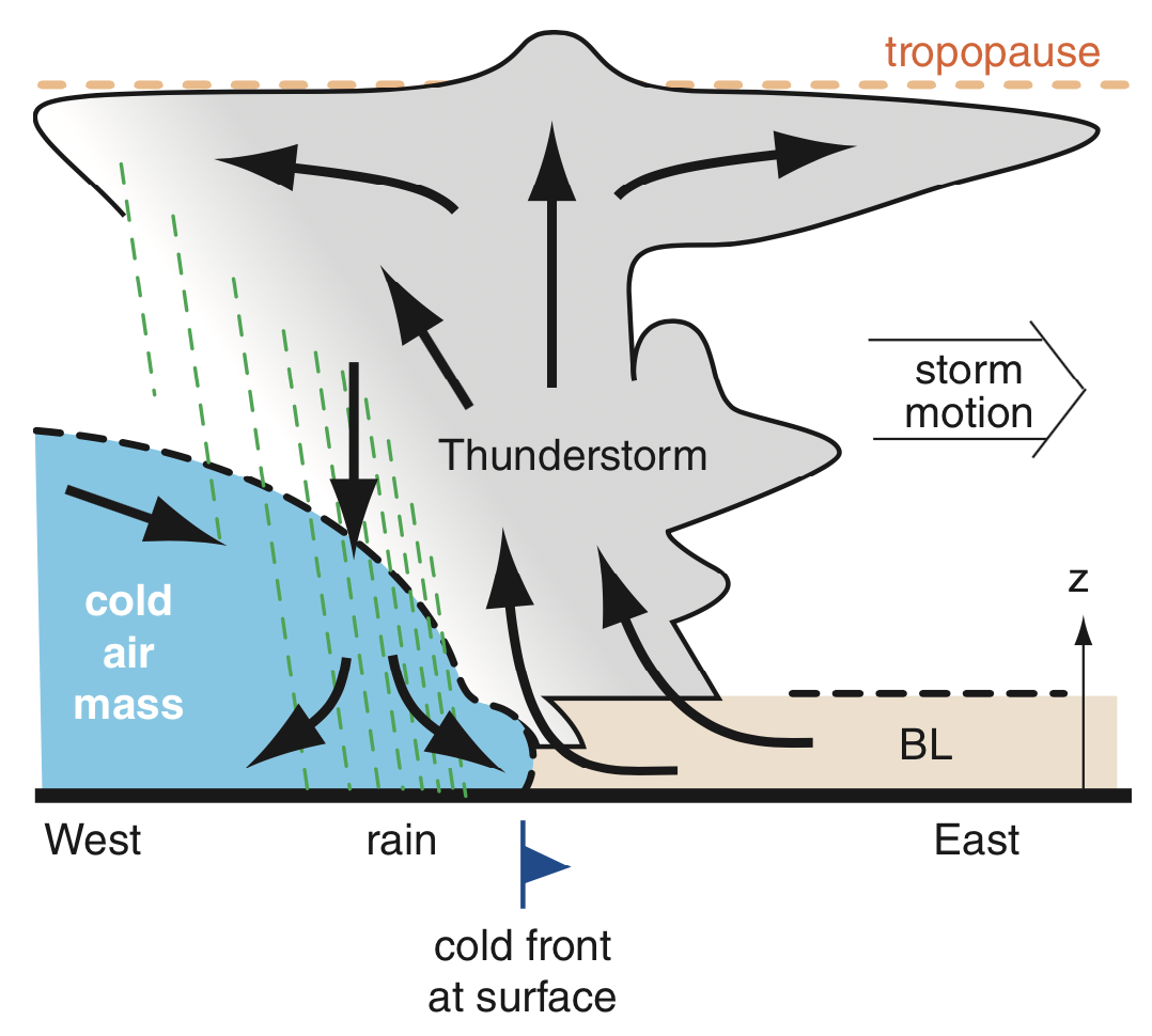 squall line thunderstorm cross section
