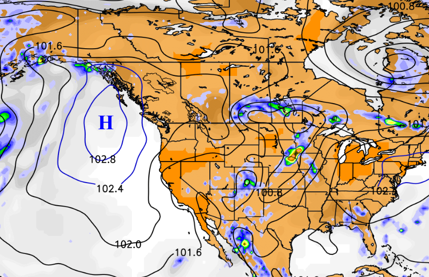 5k Large Scale Light Winds: North America Air Pressure Map At Usa Maps